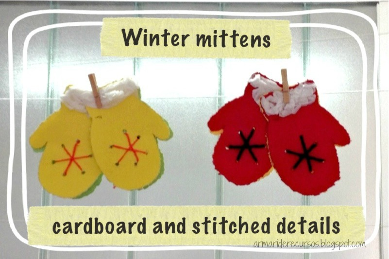 Winter Mittens with cardboard and stitched details