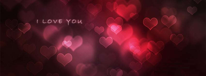 ảnh bìa facebook có hình trái tim và chữ I Love You