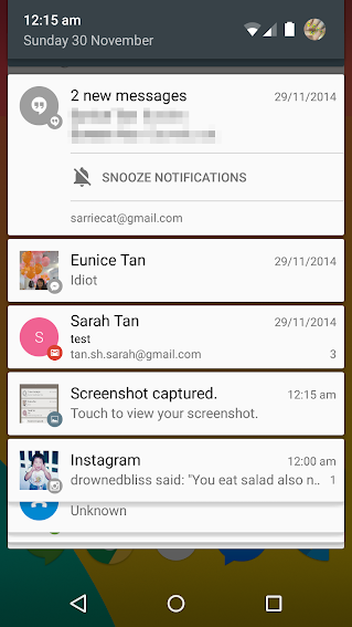Notifications tray