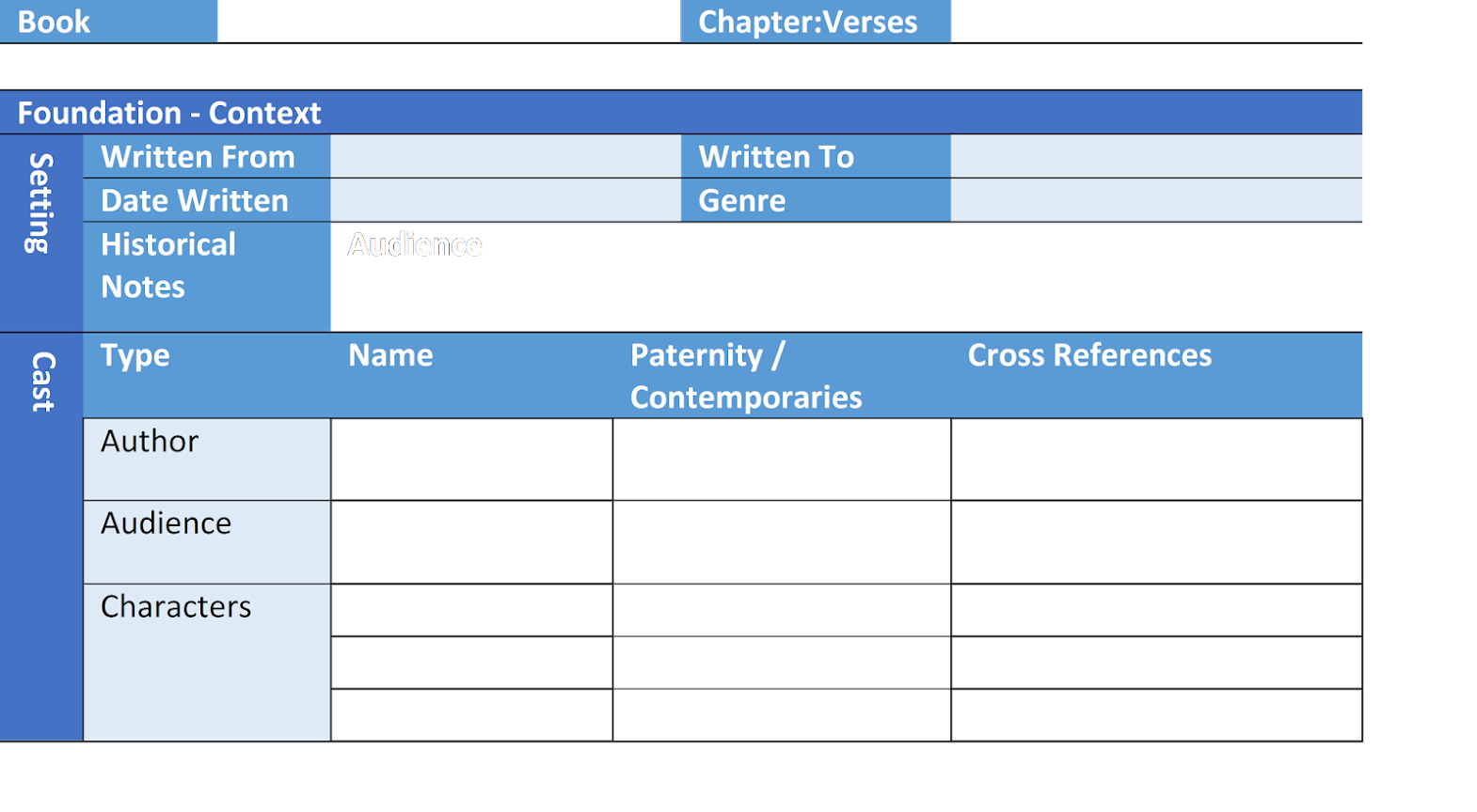 Cross Reference Study Templates