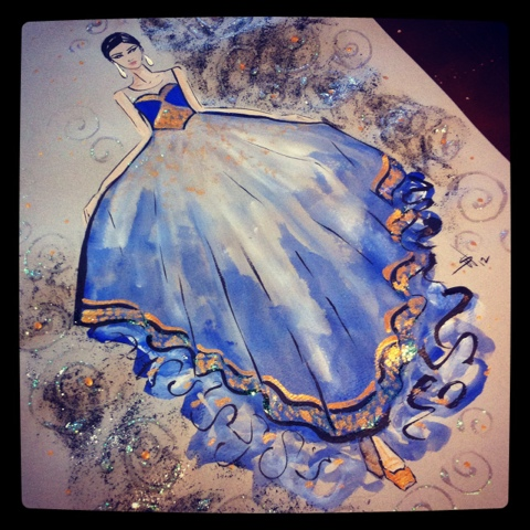 Sketched and Embellished: Inspired by India Gold And White Indian Dress