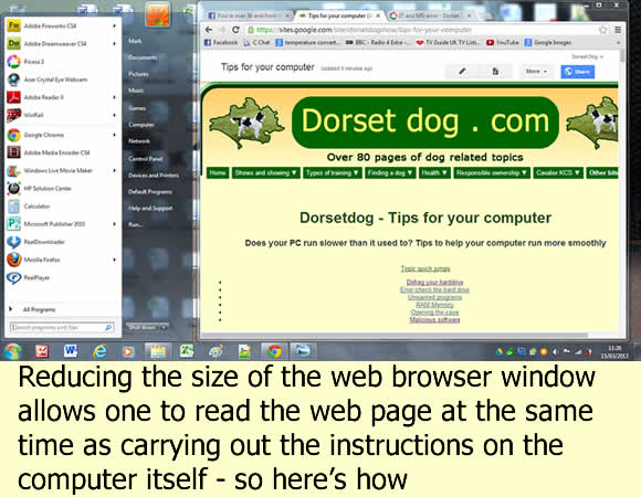 How to minimise a web browser window - with dorsetdog.com