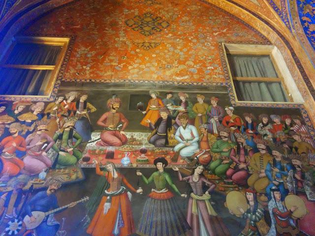 Colorful Paintings inside Chehel Sotun Palace, Isfahan, Iran