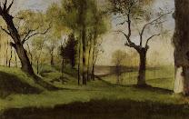 moreau, view, villa, borghese,1858, landscape, green, lush