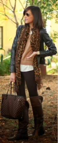 Cheetah style scarf, black jacket, brown shirt, tan leggings and tan long boots