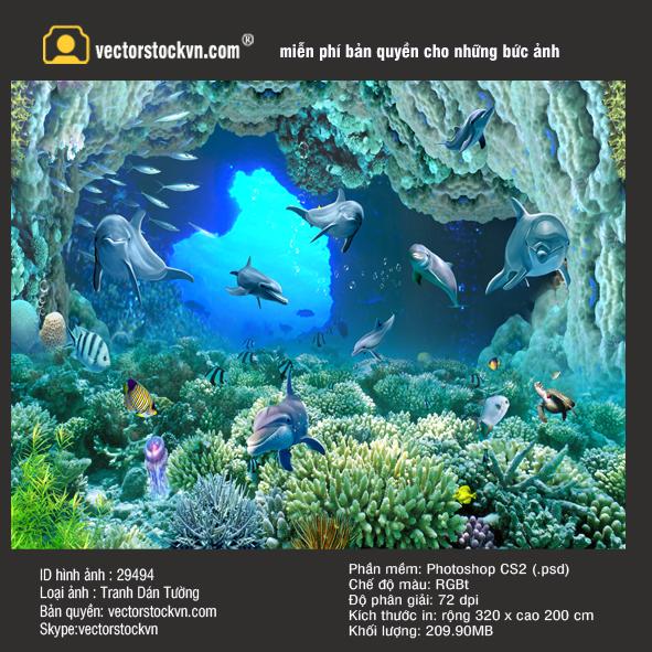 3D立体扩展空间海底世界蓝色. Tranh Cá Heo Đại Dương