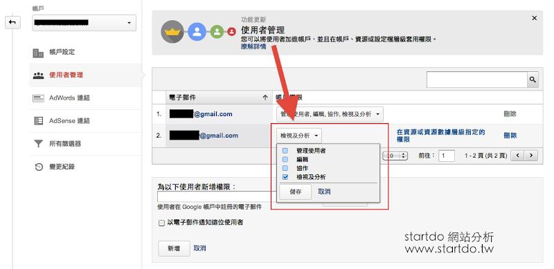 Google Analytics-權限更新-startdo