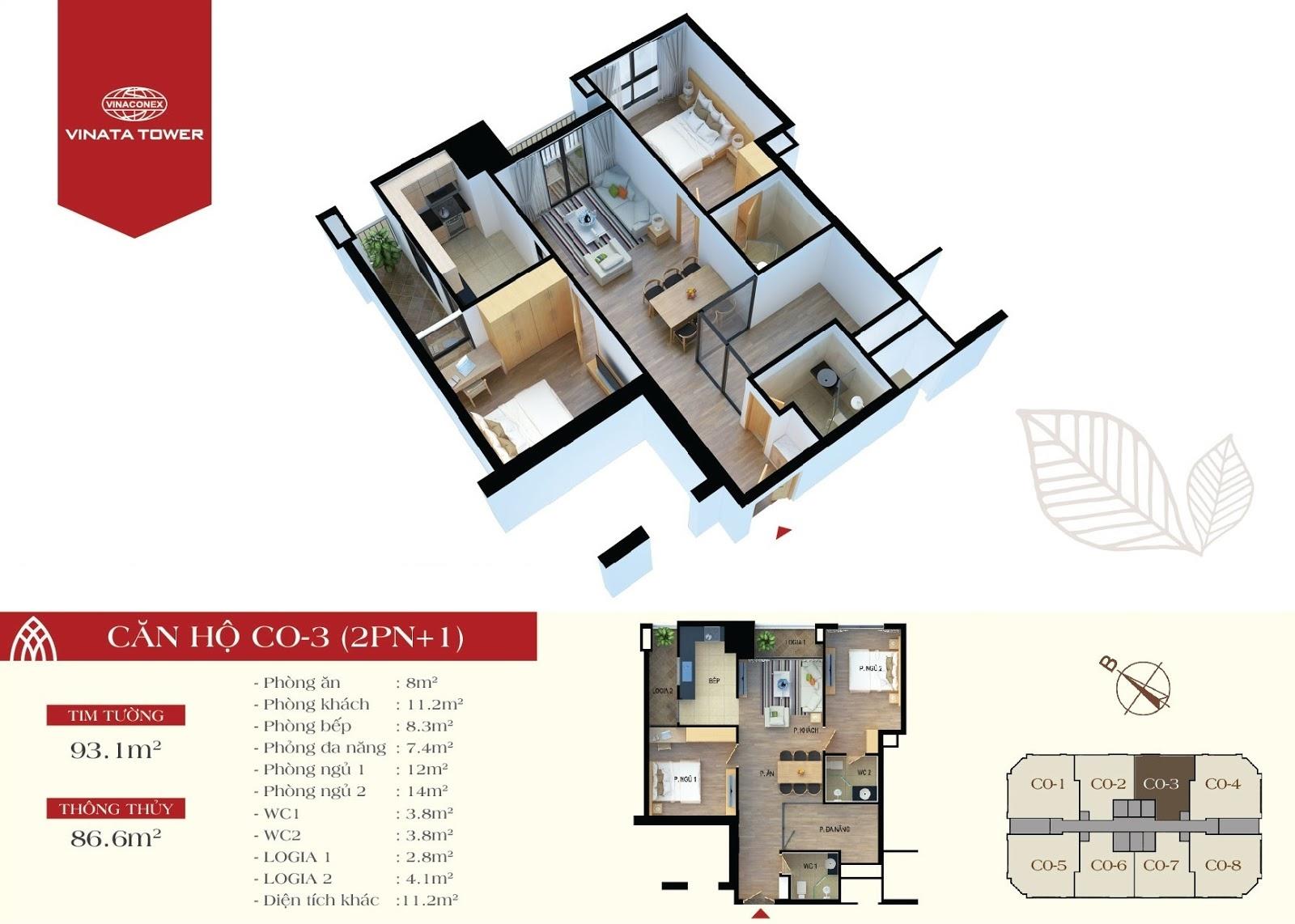 căn hộ CO3 chung cư Vinata Tower