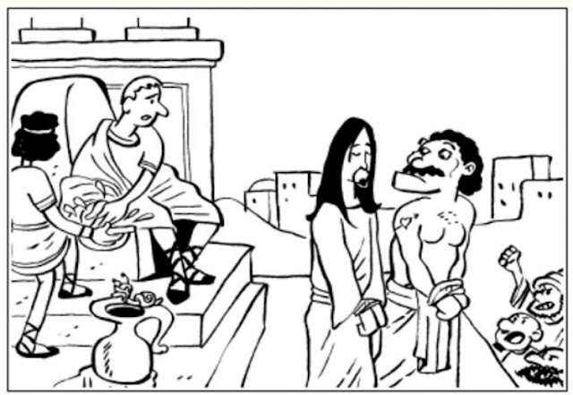Pilato se lava las manos para colorear