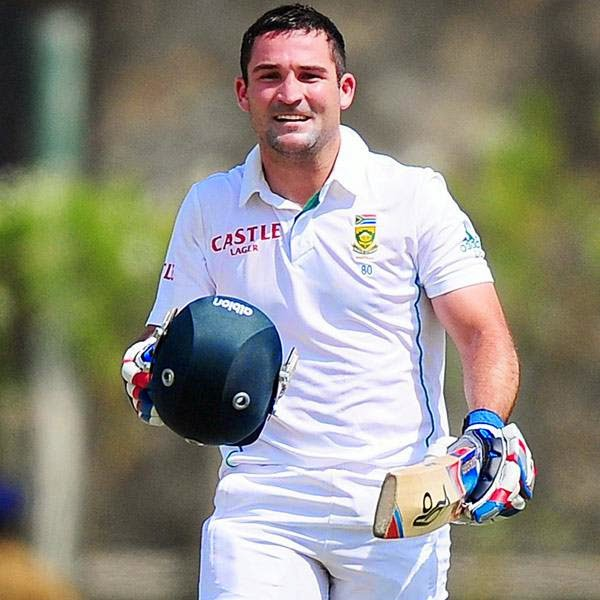 South Africa cricketer Dean Elgar celebrates after scoring a century (100 runs) during the first day of the opening Test match between Sri Lanka and South Africa at the Galle International Cricket Stadium in Galle on July 16, 2014.
