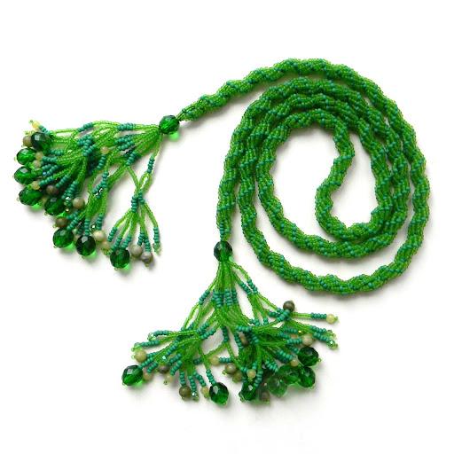 украшения бижутерия зеленый лариат из бисера жгут