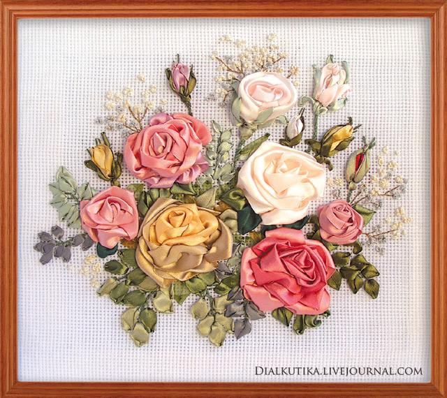 вышивка лентами, розы