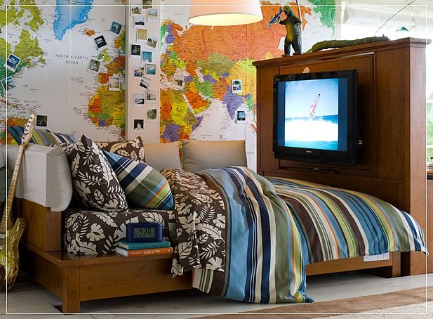 Bedroom World Travel Boys Bed Wall Design Atlas Unique Design Cool