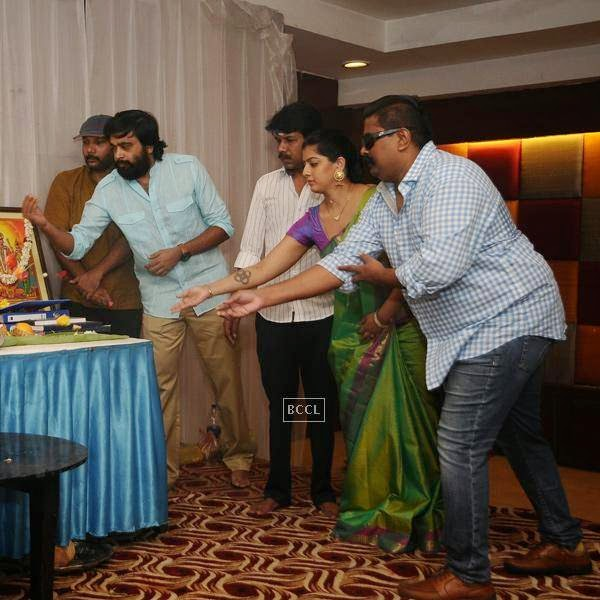 Celebs offer prayers during the movie pooja of Thaarai Thappattai, held in Chennai.