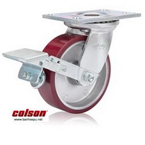 Bánh xe công nghiệp PU Colson có khóa chịu lực 540kg | 6-6209-939BRK1