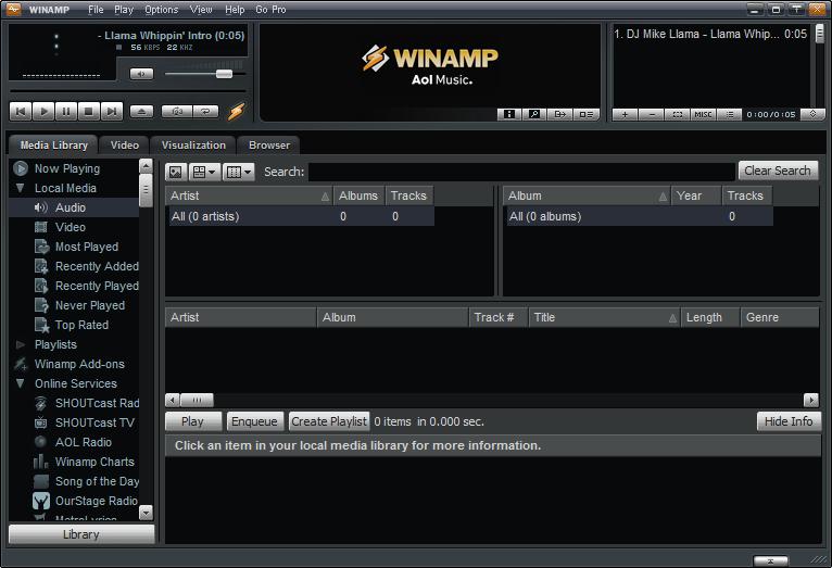 Screenshot of Winamp v.5.65 Full Multimedia Player PC Software Free Download at Alldownloads4u.Com