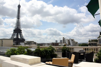 Eiffel tower as seen from a room at the Shangri-La hotel in Paris France