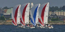 J/70 sailboats- sailing downwind off Newport