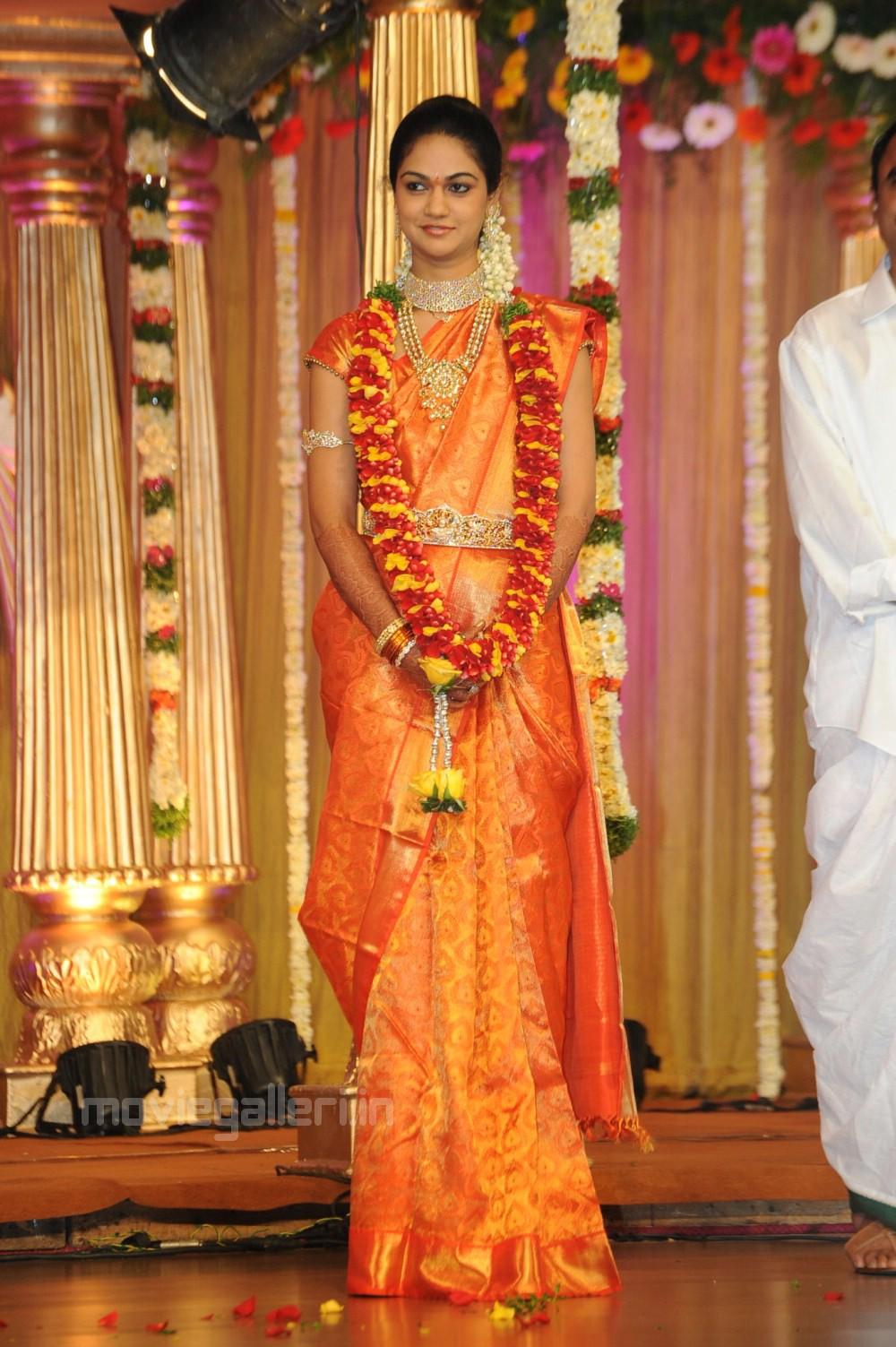 Sneha Reddy Wedding Saree Stills In Allu Arjun Reception