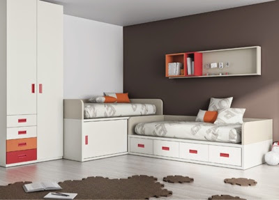 dormitorio infantil con camas cruzadas