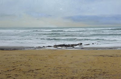 oleo de la playa de Riazor en La Coruña
