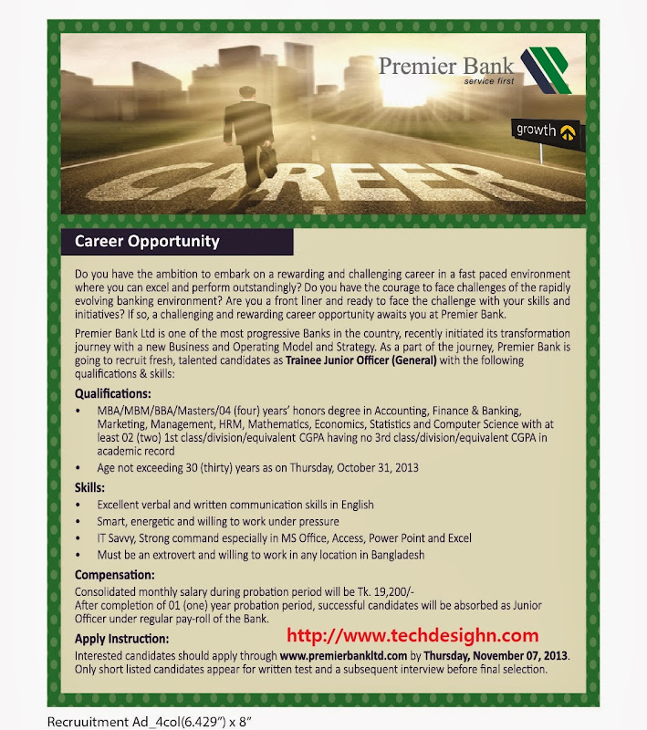 premier bank limited job circular