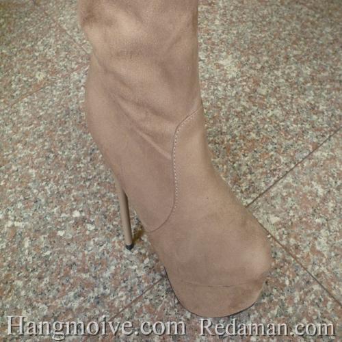 Boots cao cổ quá đầu gối, da lộn, gót nhọn, màu be 2 - Chỉ với 1.090.000đ
