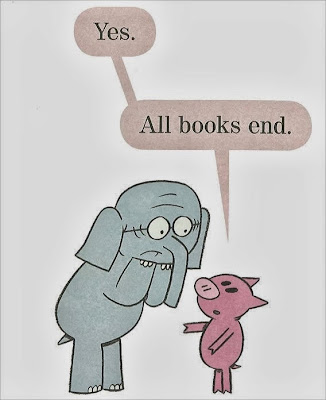 Illustration of We Are in a Book! by Mo Willems - Yes. All books end.