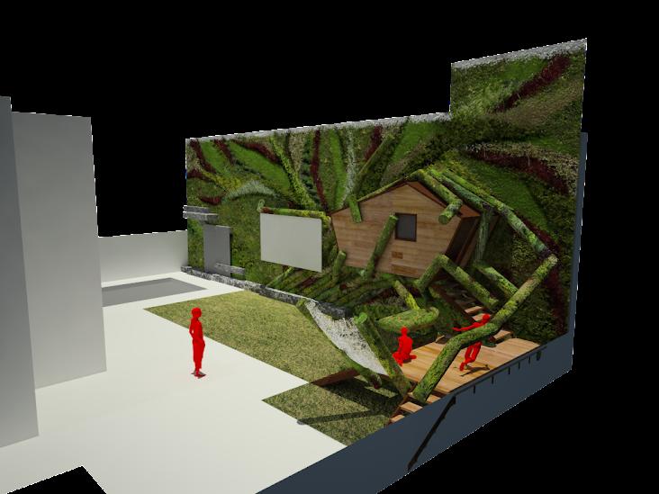 casa en el arbol integrada en un jardín vertical