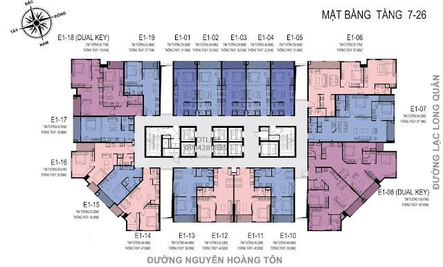 Mặt bằng căn hộ tầng 7-26 dự án D'el Dorado Premium