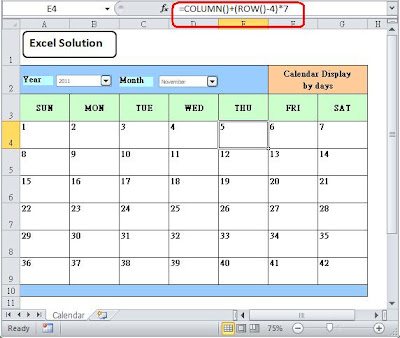 How to Create Dynamic Calendar with Excel 3 - Formula to