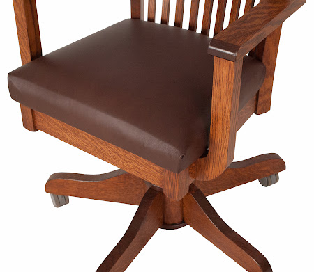 Lancaster Office Swivel Chair in Autumn Quarter Sawn Oak, with Leather Seat