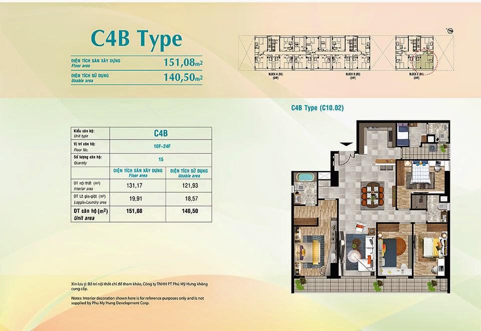 Căn hộ Scenic Valley Phú Mỹ Hưng, kiểu C4B, 151.08m2 có thiết kế 4 phòng ngủ