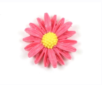 Pink Daisy Vintage Lucite Style Cabochon