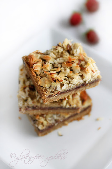 Gluten-Free Goddess Recipes: Gluten-Free Raspberry Coconut-Almond Bars