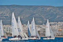 J/24 one-design sailboats- sailing off Athens, Greece