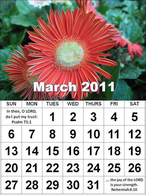 march calendars 2011. Christian March 2011 Calendar