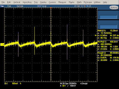 The output waveform of the charger under low (250mA) load shows a lower 29 kHz switching frequency.
