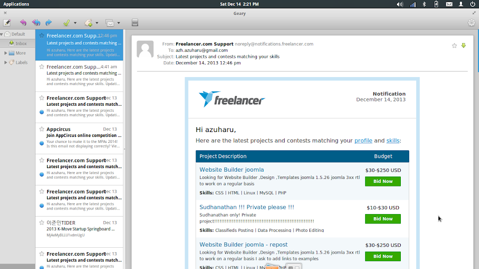 geary email client elementary os