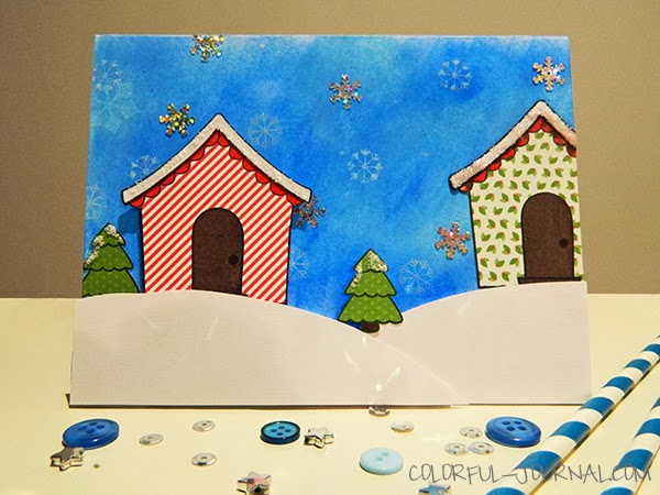 Lawnscaping winter blog hop challenge Lawn Fawn Sweet Christmas stamp set snow hills snowflakes distress inks trees