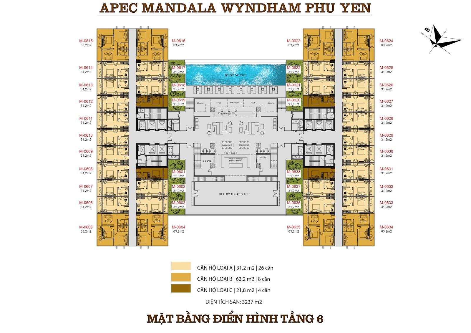 Mặt bằng căn Condotel Apec Mandala Wyndham Phú Yên