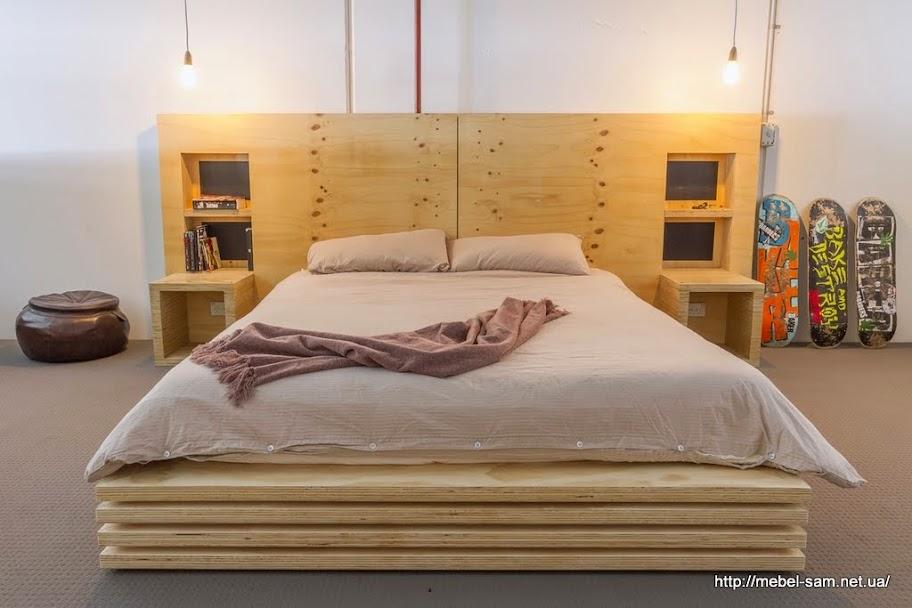 Фанерная кровать с массивным изголовьем