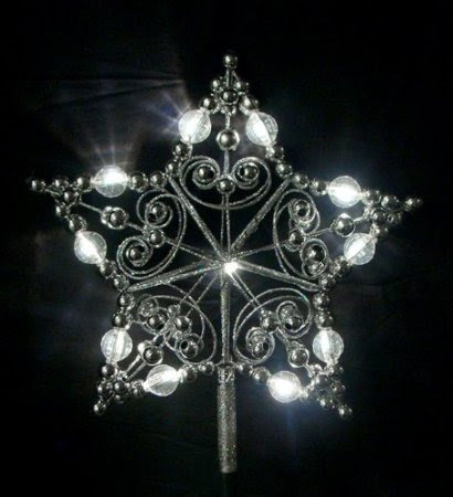 9-Inch Lighted Silver Glitter Star Christmas Tree Topper - Candlelight LED Lights