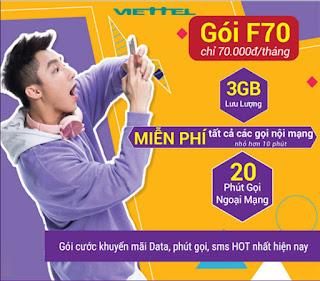 Nhận 3GB, Gọi Miễn phí Nội và Ngoại mạng Gói F70 Viettel