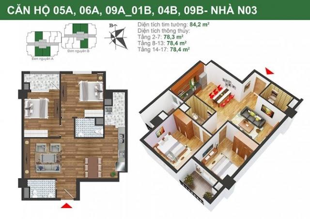 Mặt bằng căn hộ 05A-06A-09A-01b-04B-09B