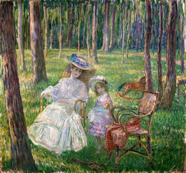Henri Lebasque - Mother and daughter in the park-1905