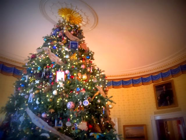 Christmas tree in the Blue Room, White House. #WHHolidays #WHTravelBloggers