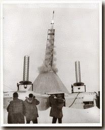 지구관측로켓 발사 장면