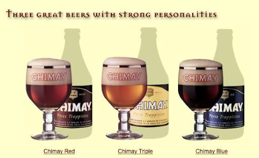 Bruselas Valonia: Cerveza de abadia Chimay: sus tres variedades servidas en sendas copas. Se puede apreciar el diferente color de cada variedad