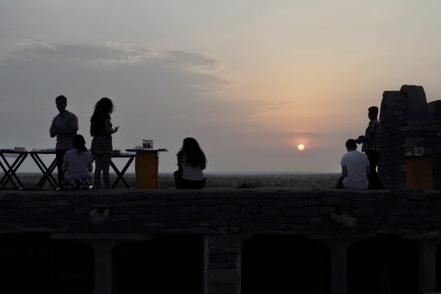 Sunrise breakfast at Khaba Fort in the Thar desert